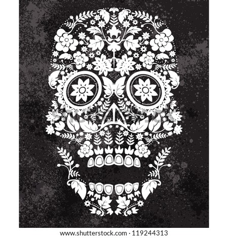 day of the dead skull backdrop - stock vector