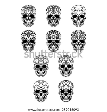 Day of the dead skull collection - stock vector