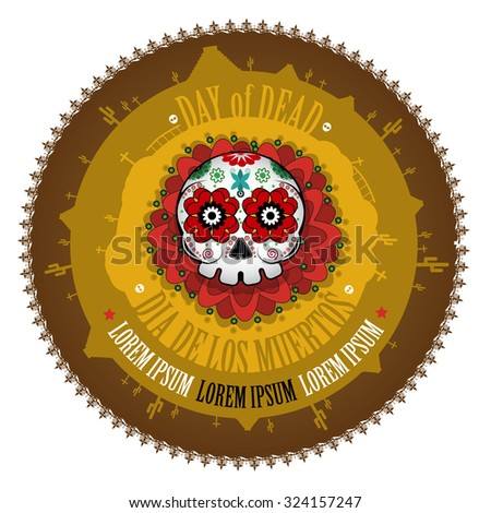 Day Of The Dead Skull Vector Label background. Dia de los muertos - stock vector
