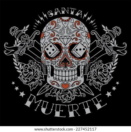 Day of the dead sugar skull graphic - stock vector