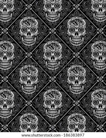 Day of the Dead Wallpaper Pattern - stock vector