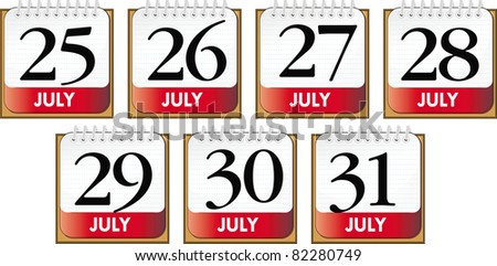 days of july - stock vector