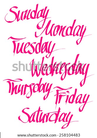Days of the week - stock vector