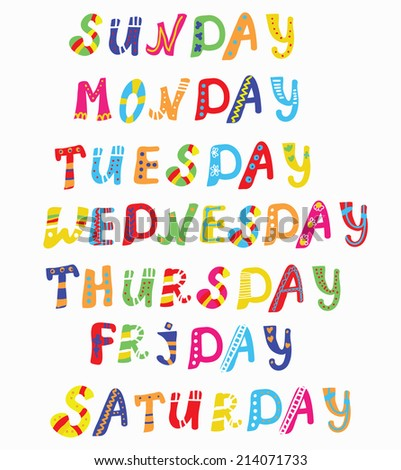 Days of the week funny vector - stock vector