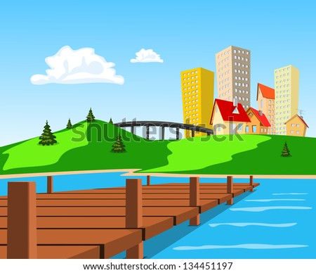 Daytime view of the city across the lake - stock vector