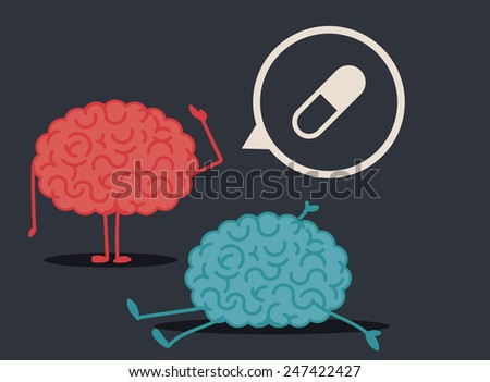 Dead brain by pill abuse: murder investigation conclusions - stock vector