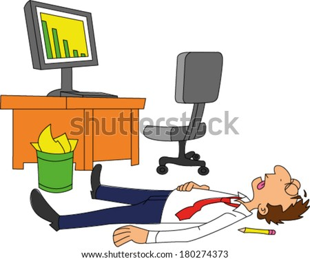 Dead businessman laying on floor next to desk with declining sales trend on computer screen - stock vector
