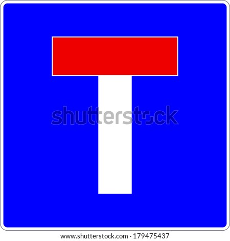 Dead End Traffic Sign Vector eps10 - stock vector