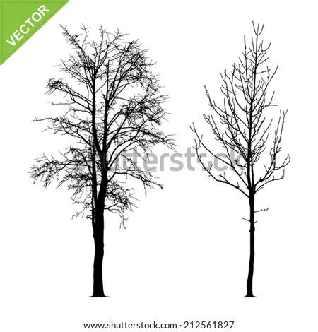 Dead tree silhouettes vector - stock vector