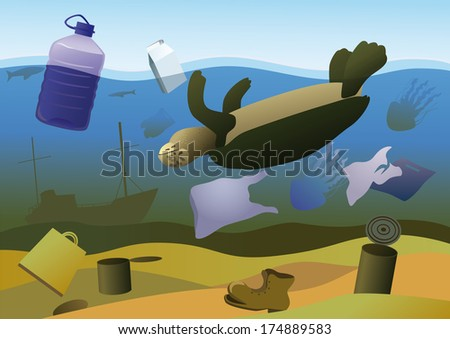 Dead turtle, jellyfish and fish on a background of debris on the seabed. - stock vector