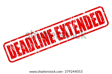 DEADLINE EXTENDED red stamp text on white - stock vector