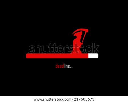 Deadline loading bar with grim reaper - stock vector