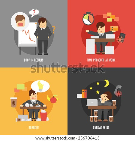 Deadline stress at work 4 flat icons composition of results drop burnout and overworking abstract vector illustration - stock vector