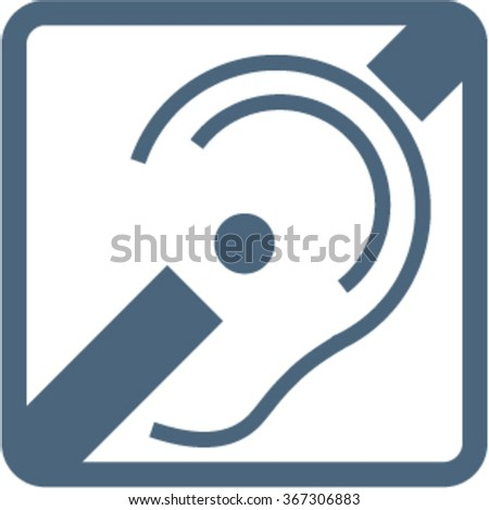 deaf ear with a hearing aid vector image - stock vector