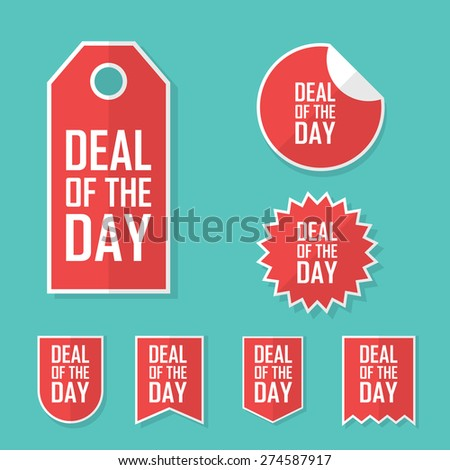 Deal of the day sale sticker. Modern flat design, red color tag. Advertising promotional price label. Eps10 vector illustration. - stock vector