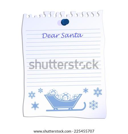 Dear Santa christmas list on line paper  - stock vector