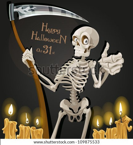 Death is a skeleton with a scythe - Halloween party invitation - stock vector