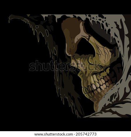 Death skull in hood. Horror vector illustration - stock vector