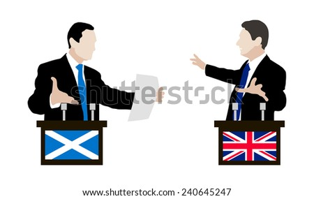 Debate between speakers of England and Scotland. Flag. Vector. Icon.  - stock vector