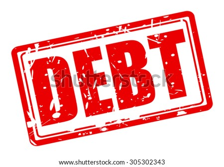 Debt red stamp text on white - stock vector