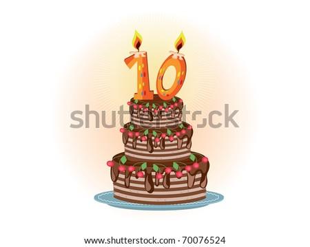 Decade birthday,pie - stock vector