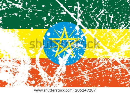 Decayed flag of Ethiopia - stock vector