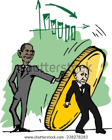 December 18, 2014: A vector illustration of a portrait of President Obama and Vladimir Putin, fall of the ruble - stock vector