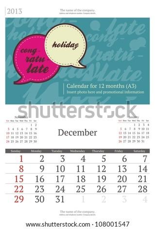 December. 2013 calendar. - stock vector
