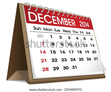 December 2014 Calendar. - stock vector