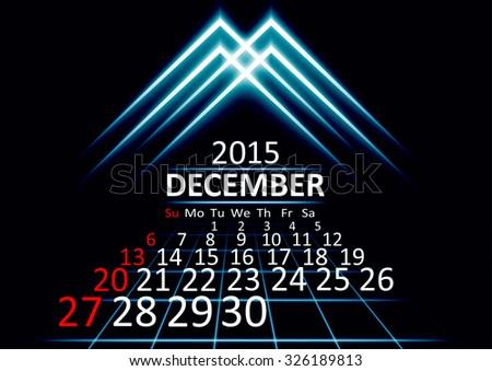 December 2015 calendar dark technology 3d style abstract background. Vector Illustration. - stock vector