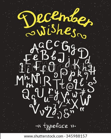 December wishes handwritten font with swirls. Hand made custom lettering for invitation, announcements, and banners. Isolated on black retro textured background - stock vector