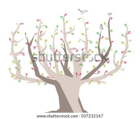 Deciduous tree with birds. - stock vector