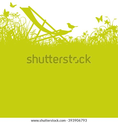 Deck chair with bird in green the garden - stock vector