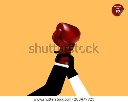 declaring business man winner, boxing referee lift up the hand of the business man with boxing gloves  - stock vector