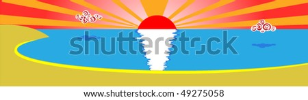Decline in sea bay - stock vector