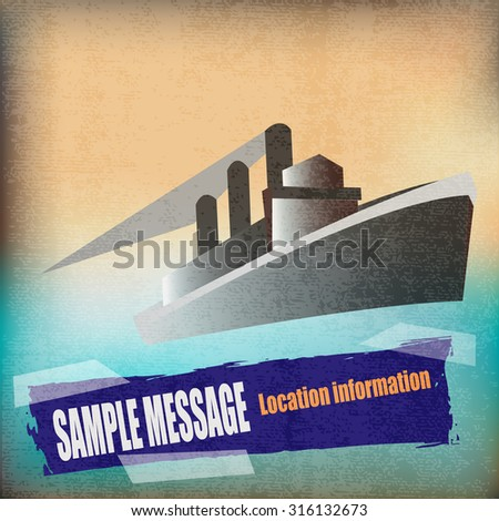 Deco style vintage poster for a Cruise Liner - stock vector