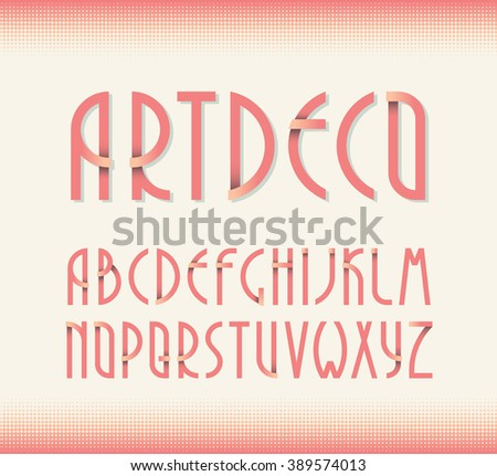 Deco vintage poster typeface, font. Set of retro style latin capital letters.  - stock vector