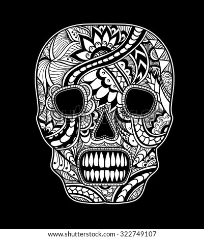 Decorate Skull painted ornament white on black for tattoo  or for decorated clothes or party of Halloween or different things - stock vector