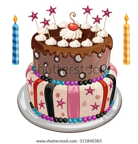 Decorated birthday cake, colorful candles and candy stars - stock vector