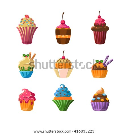 Decorated Cupcakes Sticker Set Of Flat Vector Cute Girly Style Isolated Items On White Backgroud - stock vector