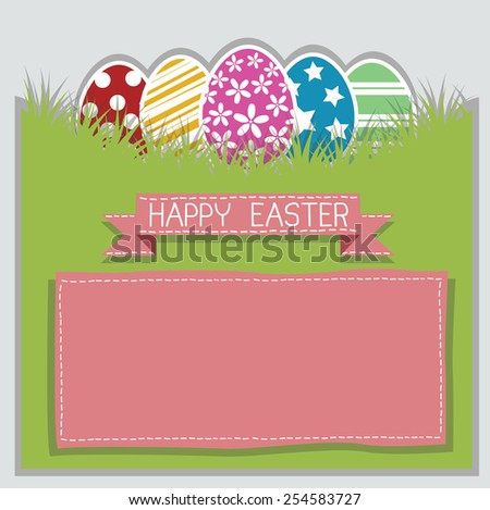 decorated Easter eggs in the grass - stock vector