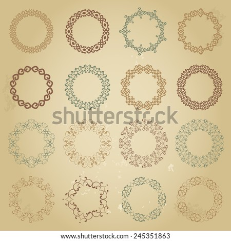 Decoration elements patterns in big pack. Mega set of sixteen the most popular round frames. Colorful vintage borders in collection isolated on grunge beige background. Vector illustration - stock vector