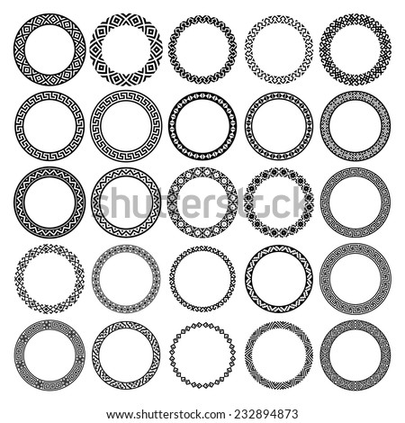 Decoration elements patterns in big pack. Mega set of 25 the most popular round frames. Monochromatic ethnic borders in huge collection. Isolated on white background. Vector illustration  - stock vector