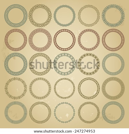 Decoration elements patterns in big pack. Mega set of 25 the most popular round frames. Colorful ethnic borders in huge collection isolated on grunge background. Vector illustration  - stock vector