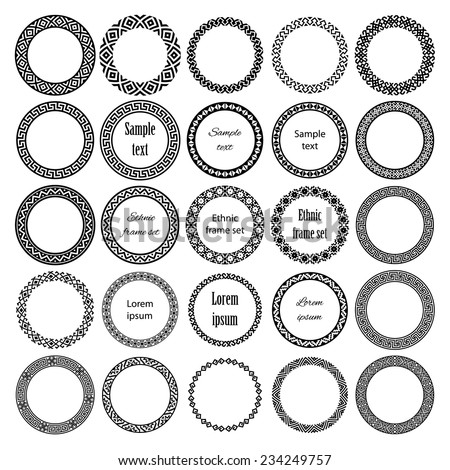 Decoration elements patterns in big pack. Mega set of 25 the most popular round frames with sample text. Monochromatic ethnic borders in collection. Isolated on white background. Vector illustration  - stock vector