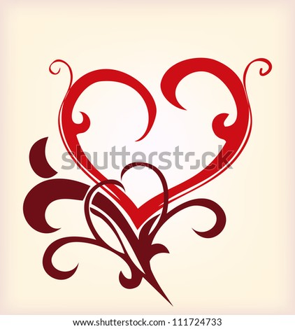 Decoration red heart. Vector illustration - stock vector