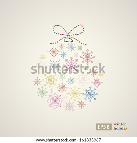Decoration snowflakes event ball. Vector illustration.  - stock vector