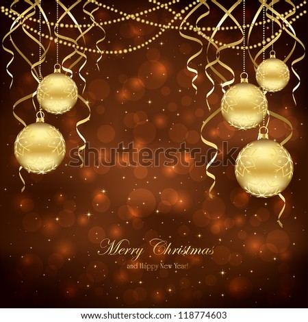 Decoration with golden Christmas balls on brown background, illustration. - stock vector