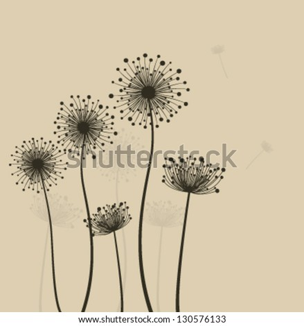 Decoration with  stylized dandelions. Vector - stock vector