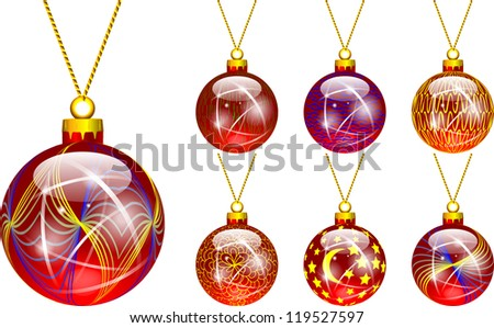 decorations for Christmas tree red - stock vector